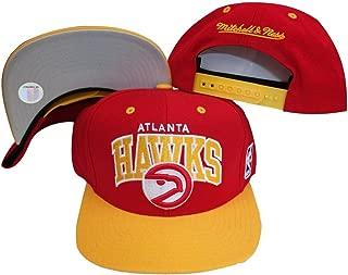 Atlanta Hawks Red/Yellow Two Tone Snapback Adjustable Plastic Snap Back Hat/Cap