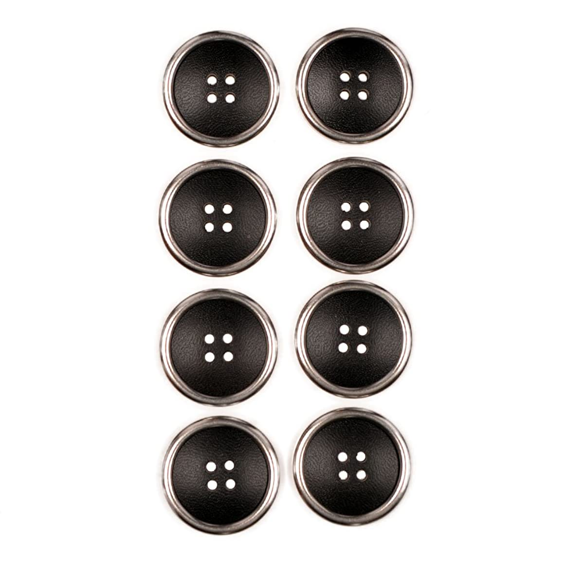 Combination (2 Piece) Button 4 Hole Leather Look With Metal Rim Black / NIkel 40 Line