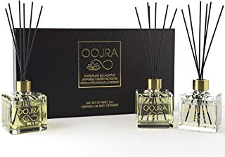 OOJRA 3 Reed Diffusers Aromatherapy Essential Oil Gift Set; Australian Eucalyptus, Japanese Cherry Blossom, French Provence Lavender; Each Decor Bottle is 2 oz, 6oz Total (Lasts 5+ Months)