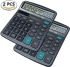 HIHUHEN Calculator (Aluminum Alloy Panel), 12 Digit Calculator Large Buttons Desktop Calculator for School Home Office - Battery Included (2 Pcs Calculator)