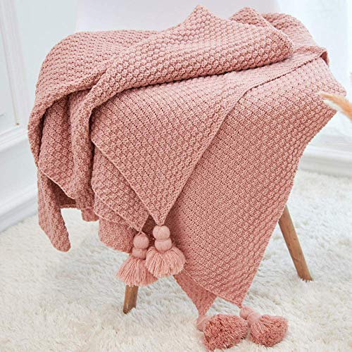 Home Decoration Nordic Tassel Knitted Pineapple Pattern Pendant Summer Air Conditioning Sofa Blanket Gift Pink 130 * 170Cm