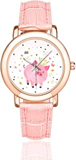 InterestPrint Cute Cow Women's Rose Golden Watches Pink Leather Band Waterproof Wrist Watch
