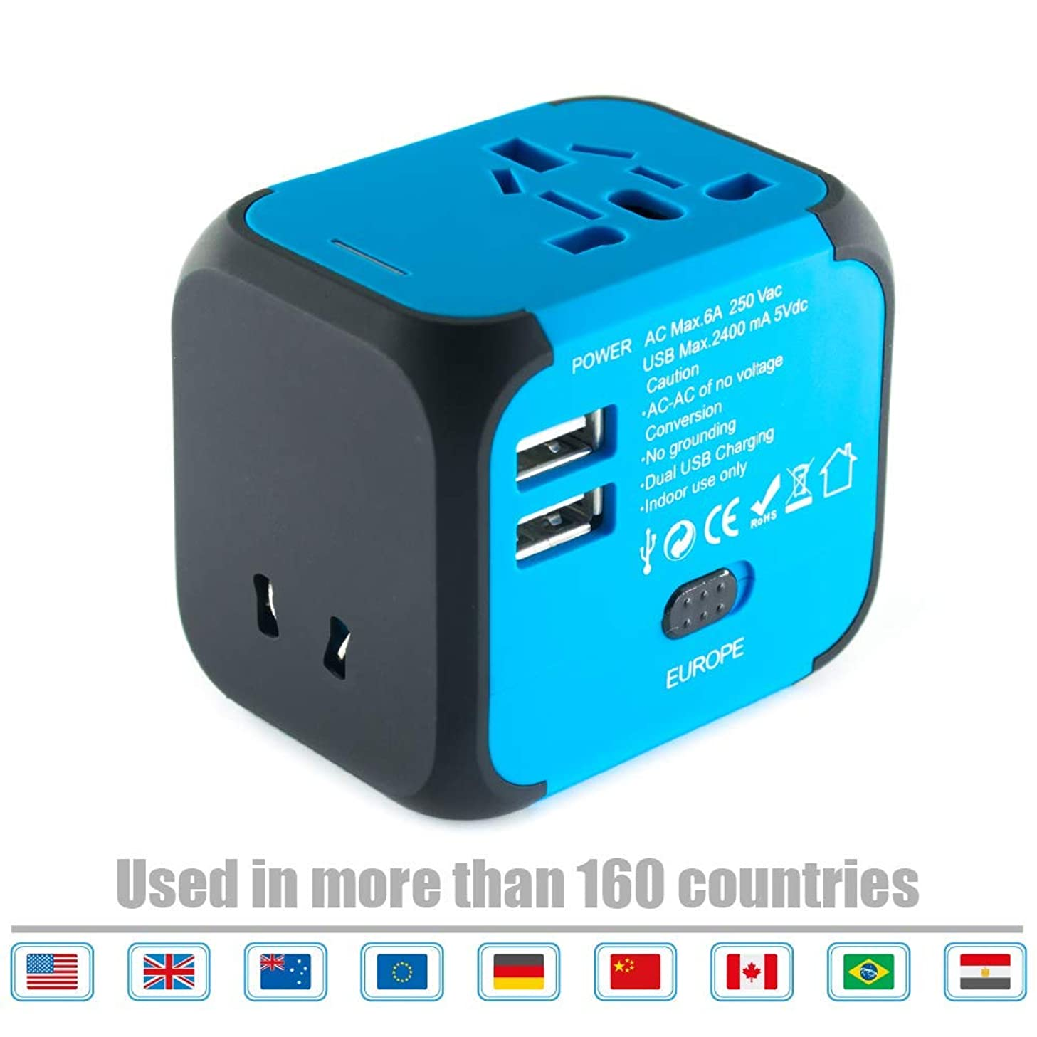 Limechoes International Travel Adapter Universal Power Adaptor European Plug Converter Worldwide All in One with 2.4A 2 USB Ports and AC Socket US to Europe Plug Adapters for UK USA EU AUS Asia (Blue)