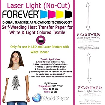 Forever Laser Light No-Cut Laser Heat Transfer Paper for Laser Printers 10 Sheets - 8.5  x 11
