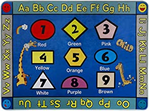 LISIBOOO Educational Kids Area Rugs, Playtime Collection ABC Numbers Animal Large Carpet Vibrant Alphabet Play Mat, for Children Bedroom Living Room Nursery Classroom (2'7''x3'11'', Shapes Giraffe)