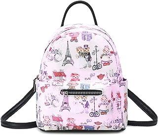 B&E LIFE Multi-Pockets Small Mini Backpack Lovely Bear Series Crossbody Bag Tote Printing Shoulder Bag for Women And Girl (Pink)
