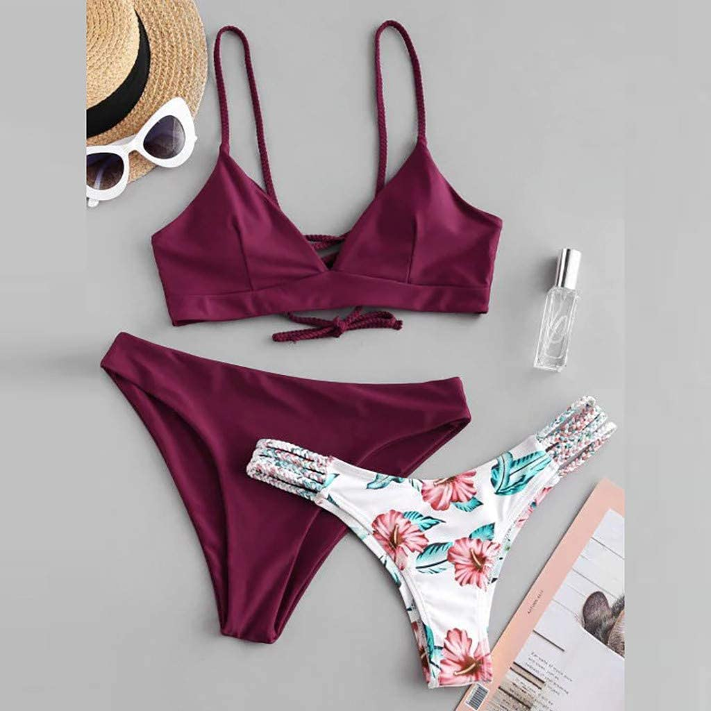 VRTYOC Costumi da Bagno Donna Due Pezzi Capestro Bendare Spiaggia Swimsuit Vita Alta Push Up Bikini Set Mare Spiaggia Estate Beachwear Swimwear
