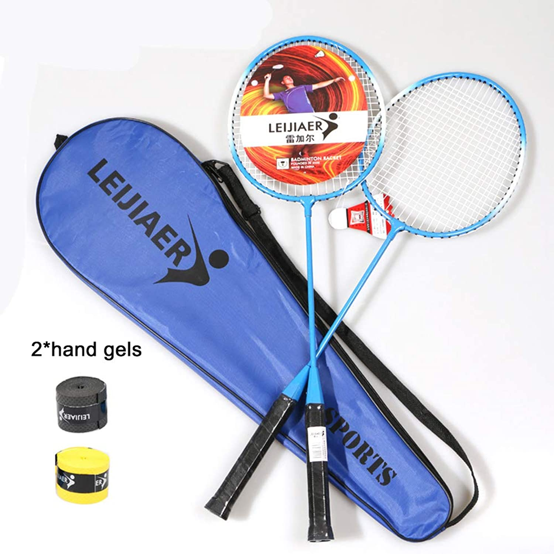 DSstyles 2pcs Badminton Rackets for Beginner Training Outdoor Sports bluee