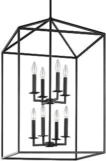 19-Inch Eight-Light Open Frame Pendant Lamp Two Layer Iron Openwork Frame Island Kitchen Foyer Hall Lantern Fixture Lamp (Black)