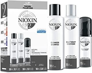 Nioxin System 2 Natural Hair Progressed Thinning Kit for Unisex, 3 Piece 10.1oz Cleanser Shampoo, 10.1 oz Scalp Therapy Conditioner, 3.38oz Scalp and Hair Treatment, 3 count