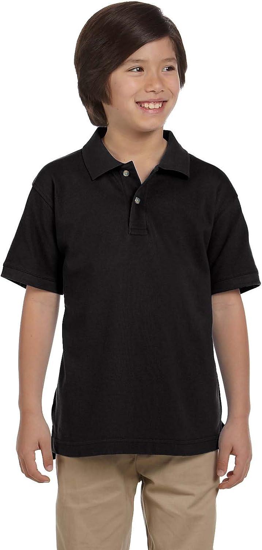 Harriton 6 oz. Ringspun Cotton Pique Short-Sleeve Polo (M200Y) Black, XL