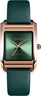 TONSHEN Womens Fashion Minimalism Analog Quartz Watch Gold Stainless Steel Case with Leather Band Casual Elegant Business Dress Wristwatch (Green)