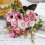 YYCVVH Ramos de Flores Naturales Margarita pequeña Rosa Artificiales de arreglos Florales para el hogar, la Oficina o Las Bodas. 5 Palos