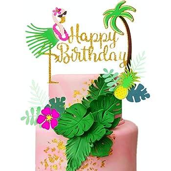 Wondrous Amazon Com Laventy Set Of 3 Glitter Flamingo Happy Birthday Cake Funny Birthday Cards Online Fluifree Goldxyz
