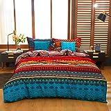 WINLIFE Vintage Bohemian Duvet Cover Set King Size, 100% Brushed Cotton Fabric Orange Striped Boho Ethnic Bedding Sets, Ultra Soft Comforter Covers with Zipper Closure, 3PCS, King