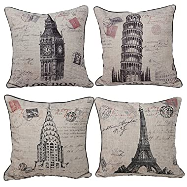 Queenie® - 4 Pcs Cotton Linen Pillow Case with Stamp Print Pillowcase Cushion Cover 45 X 45 Cm (18 X 18 Inch) (Bundle Set of 4)