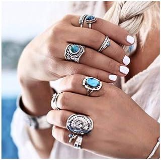 IYOU Juego de anillos de nudillos y nudillos plateados con piedras preciosas turquesas vintage para mujeres y niñas (paque...