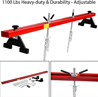 1100 Lbs Heavy-Duty & Durability Engine Load Leveler Support Bar Transmission w/Steel Beam Standing Block & Bracket Adjusting Screw Rubber-Molded Cushion Steel Chain with Handles Hooks & Hardware