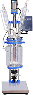 MXBAOHENG 2L Glass Reactor Jacketed Double Layer Glass Reactor for Lab Use with All PTFE Valves and High Borosilicate (110V)