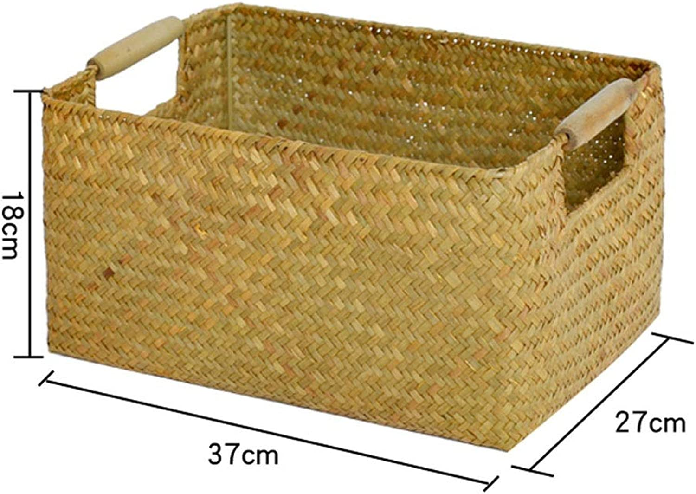 Shengshihuizhong Seaweed Woven Rectangular Storage Box, Rattan, Bamboo, Straw, Kitchen Bathroom Basket, Wardrobe Storage Basket Products 4 (Size   3)