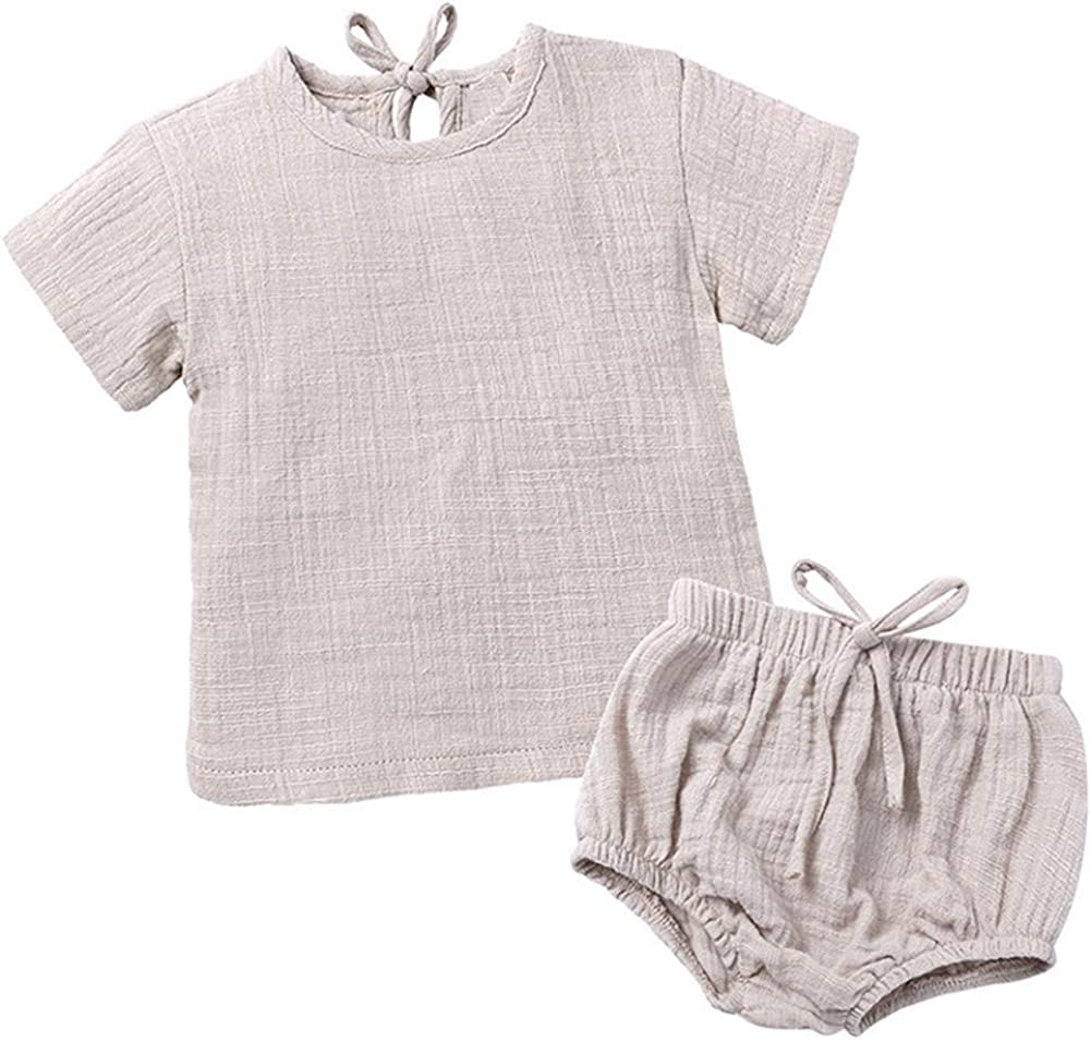 LOOLY Baby Girls Boys Cotton Linen Blend Short Sleeve Top and Bloomer Shorts