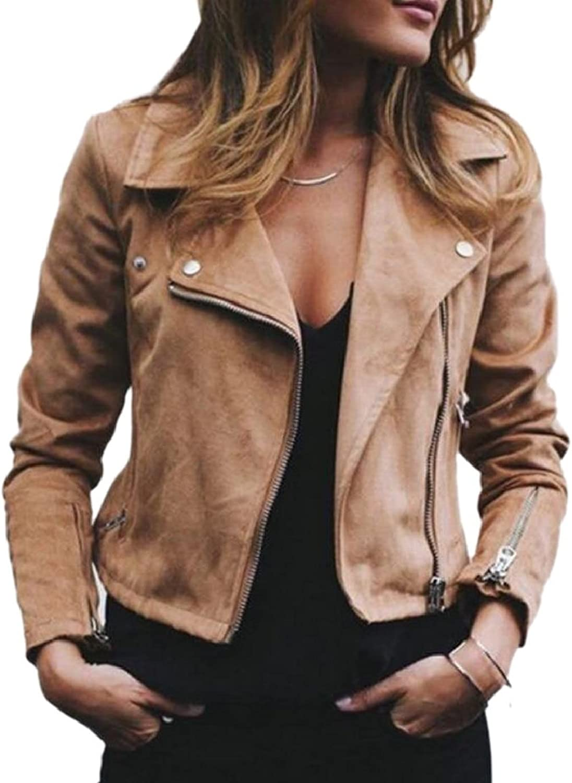 RGCA Women Faux Suede Classic Moto Biker Outwears Side Zipper Outwears