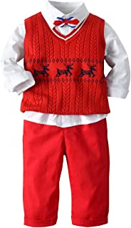 Mornyray Baby Boys 3pc Gentleman Set Cotton Shirt with Matching Sweater Vest and Pants