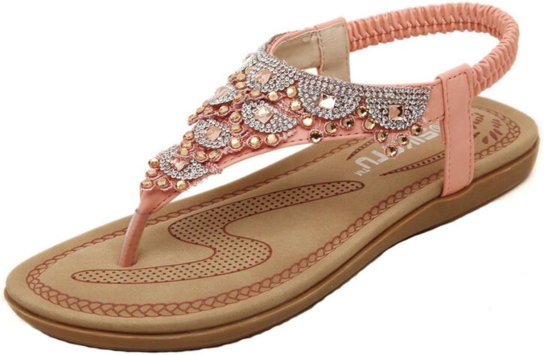 Jazlyn Women's Ethic Bohemian Rhinestone Fringed Rubber Thong Flat Sandals