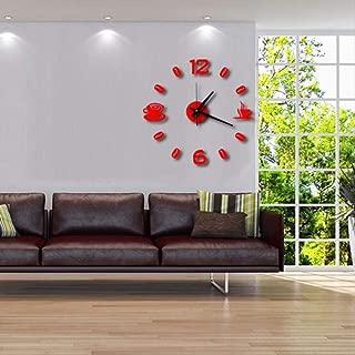 MINGCHEN Taza De Café Acrílico Pared Pared Pared Pegar Reloj De Exploración Silencioso DIY Moda Divertido Reloj De Combinación Reloj De Pared A Pared Rojo