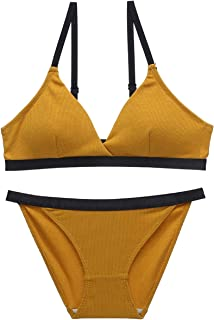 Care Gathered Sexy Bra Set French Triangle Cup Thin Cup, Sponge, no Steel Ring, Adjust Chest Sports Underwear, Three Rows ...