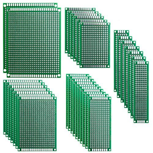 Elegoo 32er Doppelseitig PCB Board Prototype Lochrasterplatte Kit für Basteln Lötung 5 Verschiedene Größe Kompatibel mit Arduino Kits