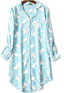 ENJOYNIGHT Women's Sleep Shirt Flannel Print Pajama Top Button-Front Nightshirt Sleepwear