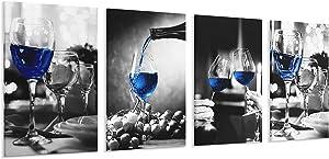 4 Panels Modern Canvas Print Art Home Decor Wine Glass Wall Artwork Framed Canvas Wall Art for Living Room & Bedroom (Blue Wine Glass, 16x24inchesx4pcs)