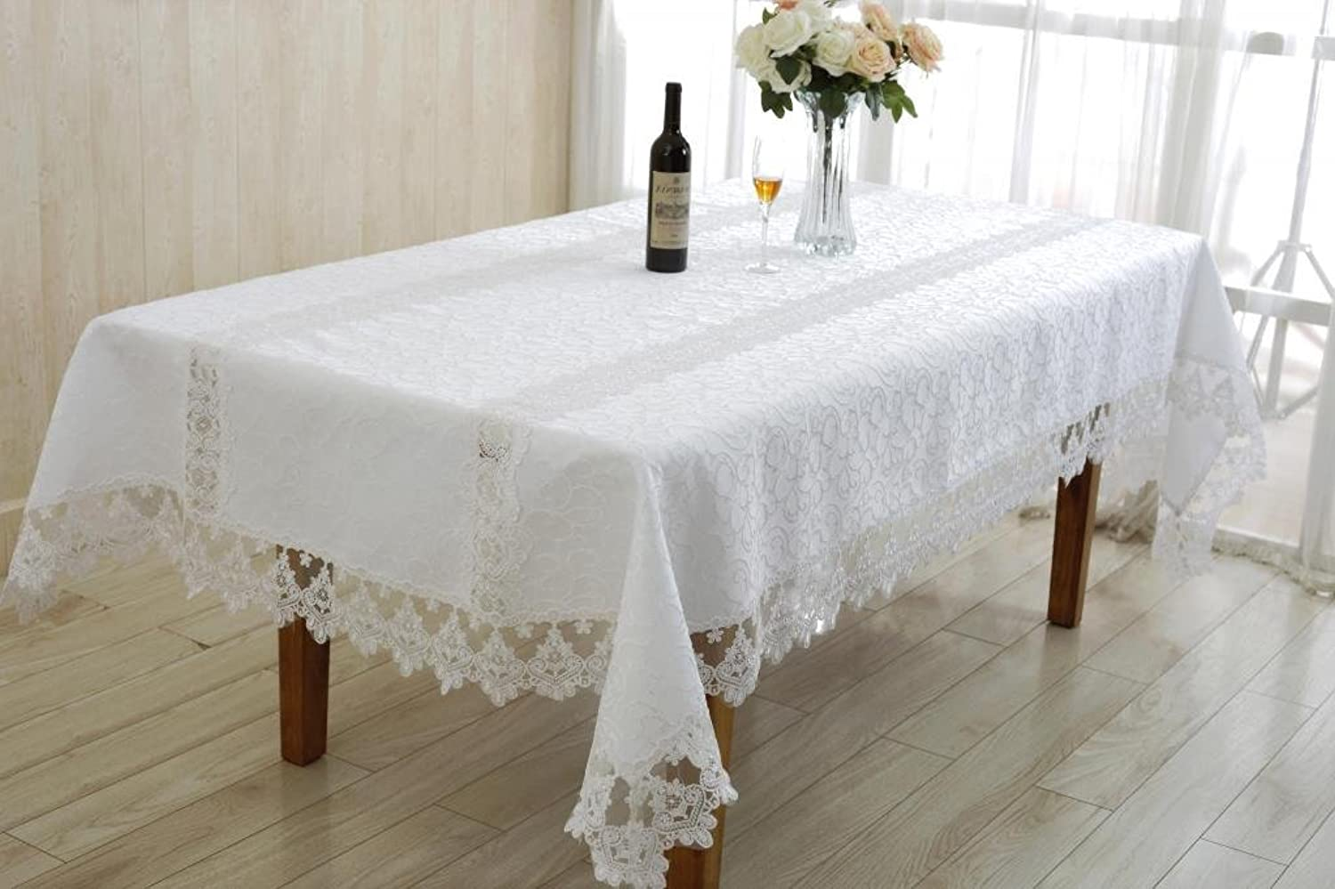 purple Linen Glory Embroidered Vintage Lace Design Oblong Rectangle Tablecloth, 60  x 84 , Cream
