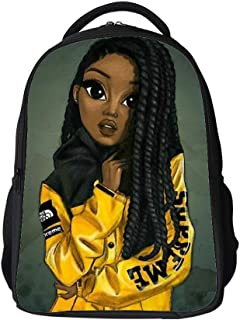 Kids School Bag Black Art African American Girl Afro Girls Boys Girls Backpack Bookbag For Elementary Students
