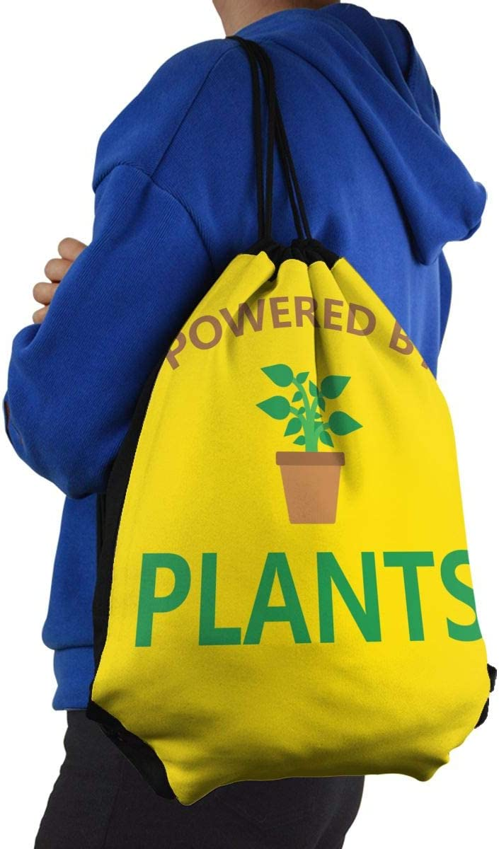 CKJL-YJ Powered by Plants Unisex Drawstring Backpacks Sport Leisure Bag