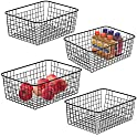 4-Pack iSPECLE Pantry Storage Organization Baskets with Handles