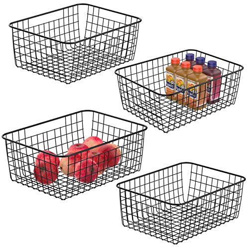 Wire Storage Baskets, iSPECLE 4 Pack Metal Wire Basket Large Pantry Storage Organization Baskets with Handles, Freezer Baskets Bins for Kitchen Pantry Shelf Laundry Cabinets Garage, Black