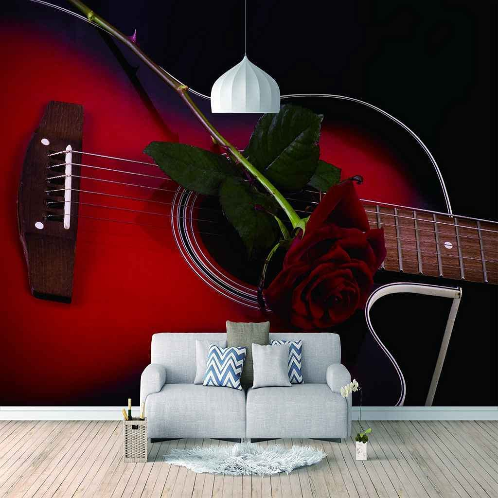 FVGKYS Wall Art Wallpaper Red Background 3D Mura Max 64% OFF Electric Guitar Max 68% OFF