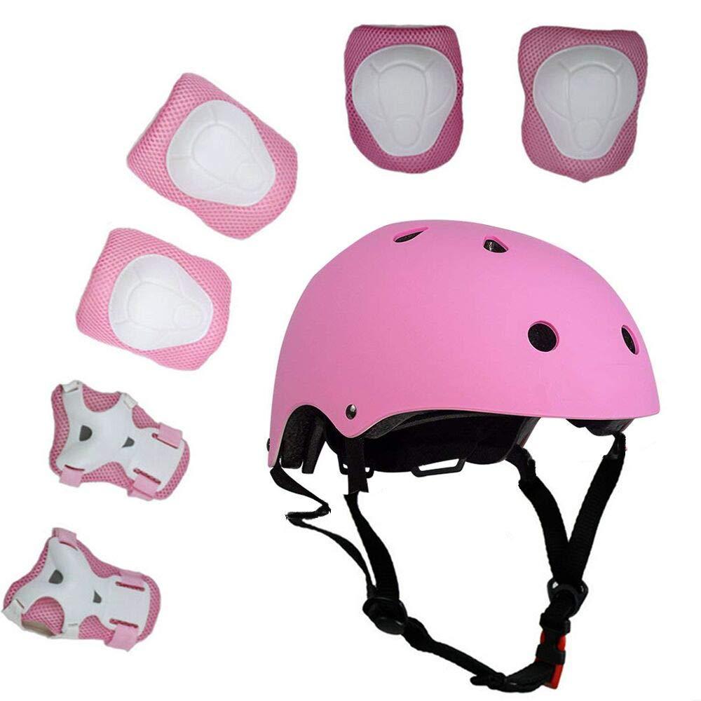 ラッキーM子供用7ピースアウトドアスポーツ用保護具セット男の子と女の子のバイク用ヘルメット*パッドセット[膝と肘のブレーサー]ローラースクーターバイク(3-8歳)