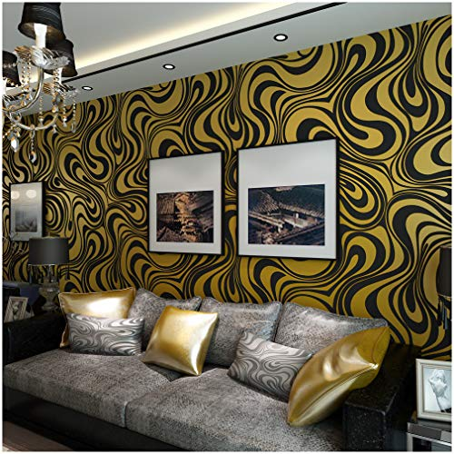 QIHANG Modern Luxury Abstract Curve 3d Wallpaper Roll Mural Papel De Parede Flocking for Striped Black&gold Color Qh-wallpaper 0.7m8.4m=5.88㎡
