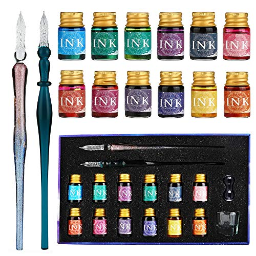 GC Juego de bolígrafos de inmersión de vidrio-2 bolígrafos de inmersión de vidrio 12 tintas multicolores 1 portalápices 1 taza de limpieza-para firmas, caligrafía, escritura, decoración, regalo GC-16