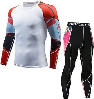 Compression Shirt Running Tights Men's Athletic Long Sleeve Baselayer Shirt Skin Fitness Lycra Set by-NEWONESUN