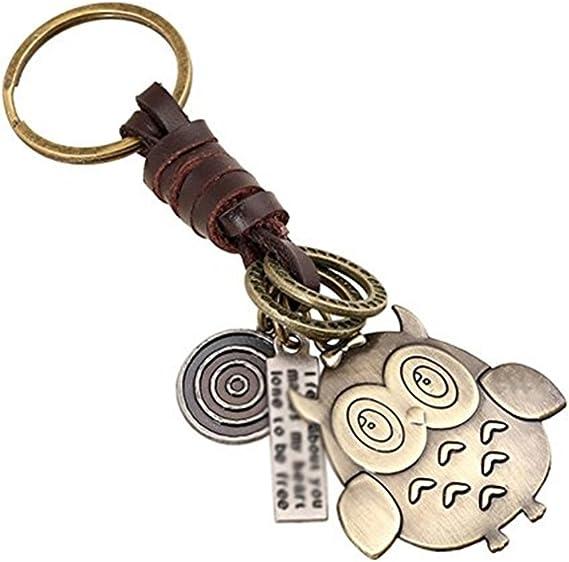 Dylandy Schlüsselanhänger Mit Geflochtenem Leder Aus Bronze Eulen Motiv Kunstleder Eule 11 Cm Küche Haushalt