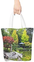 Pattern Shopping Bag Red tree near the green pond in Japanese garden in Bonn Germany (W15.75 x L17.71 Inch)