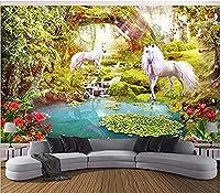 Mhshm 3D 壁画壁紙 森の白い馬 ユニコーン リビングルームとベッドルームの壁画の家の壁の装飾 3D テレビの背景の壁-400cmx280cm