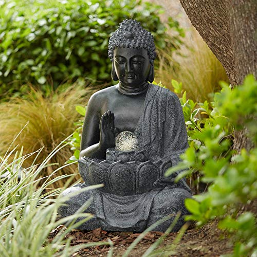 John Timberland Sitting Buddha 28' High Bronze LED Water Fountain
