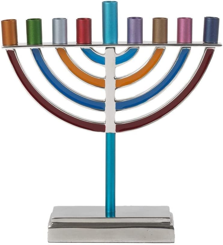 Yair Emanuel Blue Aluminum Floating Cubes Hanukkah Menorah with Blessing