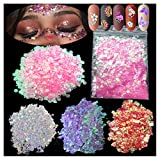 4Pack 60g Iridescent Chunky Glitter Holographic Silver Iridescent Purple Pink Makeup Glitter Sequins Festival Cosmetic Body Craft Resin Glitter Flakes(Muticolor)