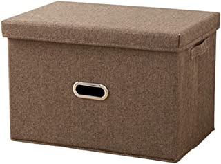D-design 収納ケース 折りたたみ ふた付き 持ち手付き 底板付き 衣類収納 布団収納 収納ボックス 小物入れ おもちゃ収納 書類収納 衣類整理 雑貨収納 大容量 水洗い 防湿 耐用 (ブラウン, (S)32×18×24cm)